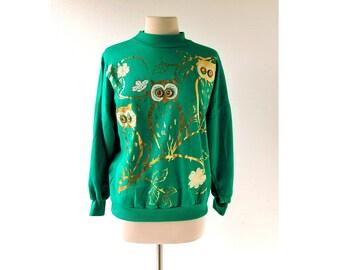 Vintage Owl Sweatshirt | 1980s Sweatshirt | Jeweled Top | Medium M