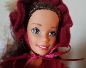 Vintage Victorian Barbie-1990's Barbie with Winter Costume-Elegant Ice Skating Barbie Doll-Brunette Victorian Collectible Barbie