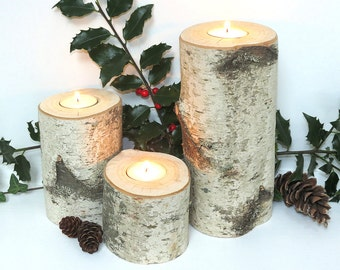 Birch Candle Holders... set of 3 with tea lights