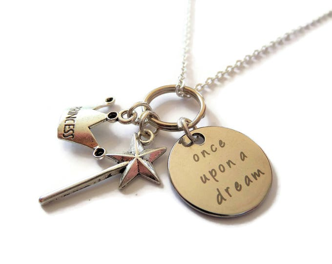 """ONCE UPON a DREAM inspired silver 20mm tag 3 charm 24"""" necklace Sleeping Beauty Aurora princess jewellery gift Uk"""