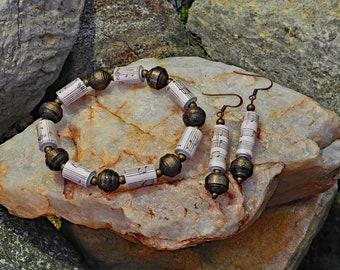 Handmade Paper Bead Bracelet & Earrings - Baroque
