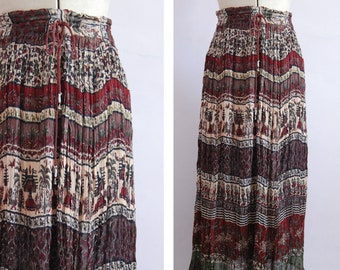 Vintage Indian cotton gauze block print patterned drawstring skirt - Indian cotton skirt - Indian skirt - hippie boho skirt - festival skirt