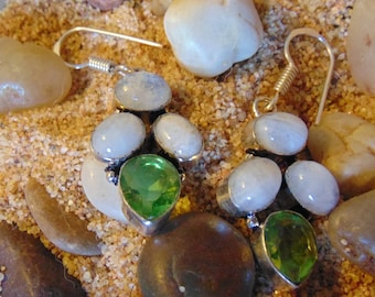 Peridot and Moonstone Vintage Earrings set in Sterling Silver