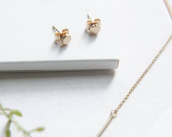 Mini Hexagon Stud Earrings