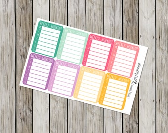 Weekly Workout Planner Stickers for Erin Condren Life Planner (ECLP)