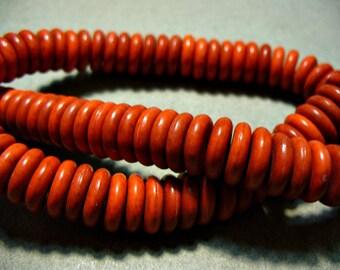 Magnesite Beads Red Orange Rondelle 11mm