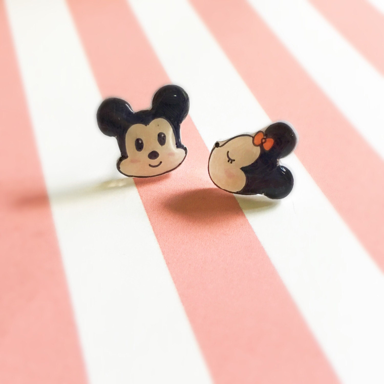 Disney Mickey Mouse and Minnie Mouse Earrings Kawaii Studs