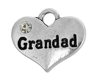 "1 or 2 or 4 pcs. Antique Silver ""Grandad"" charm with rhinestone - 16mm X 14mm"