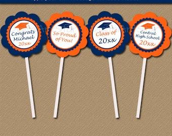 Orange & Navy Graduation Cupcake Toppers Printable - Graduation Party Decorations - EDITABLE Graduation Cupcake Decorations - ONS