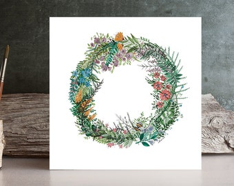 Original Watercolor flowers wreath Painting nature - floral crown illustration - Fine Art drawing / home decor / cute gift idea by Norvile