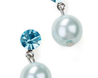 Vintage Silver Tone 2 Round Blue Faux Pearl Swarovski Crystal Dangle Pierced Earrings