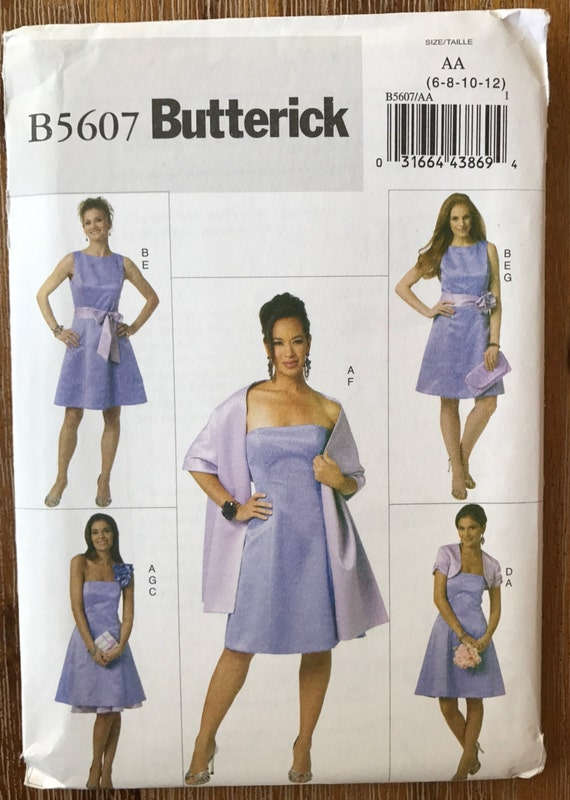 Coser patrón Butterick 5607 tamaño 6-8-10-12-14-16-18-20-22 Vestido ...