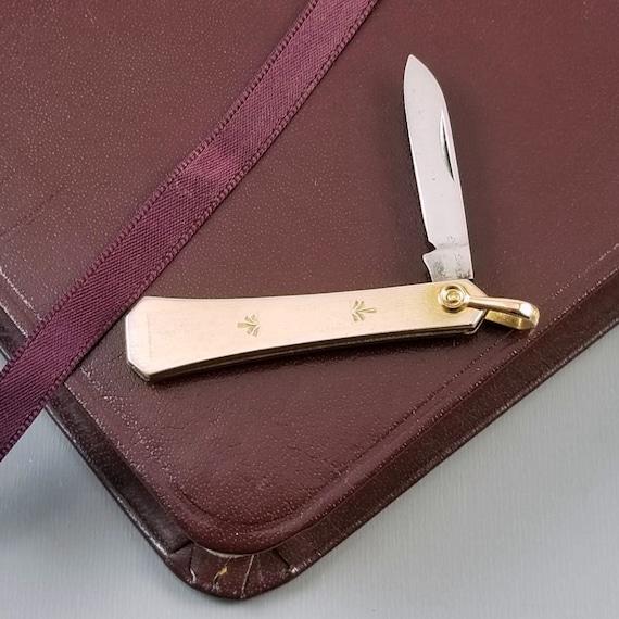 Vintage Art Deco gold filled pocket knife fob with bail, single blade, folding knife, pendant bail, charm, necklace, signed J & CN Co