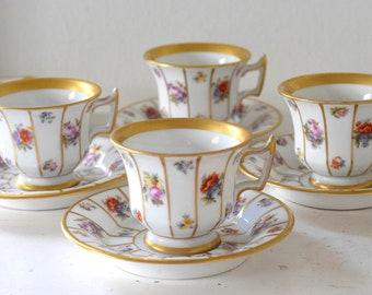 Rare Antique Heirloom Royal Epiag Bavaria Tirschenreuth Henriette Fine Serving Items. Vertical Gold Floral. Collectors Item. Open Selection
