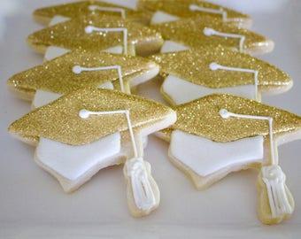 Glitter Graduation Cap Sugar Design Cookies - High School Graduation - College Graduation - Party Favors - Gift Cookies - 1 Dozen!