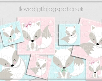 Printable download Sweet Foxes , Christmas tags, digital collage sheet, images paper goods, greetings cards, I love digi