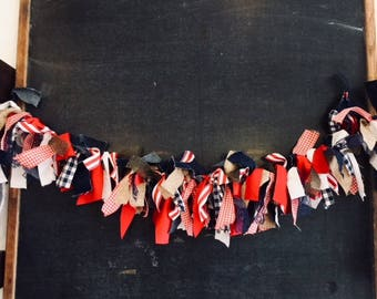 Patriotic Independence Day Banner Rag Garland