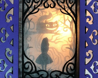 Shadow Box Embroidered Wonderment : Through The Looking Glass