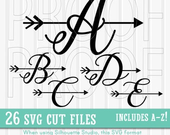 Letter SVG set--Includes A through Z! SVG PNG & jpg formats all included! Arrow svg letter svg arrow letter cutting files