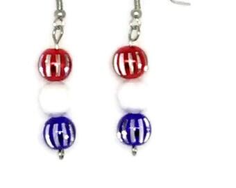 Striped Patriotic Drop Earrings
