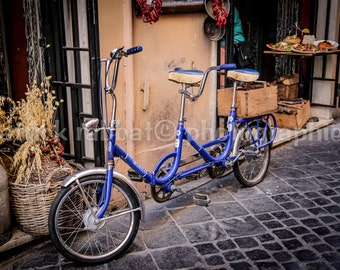 Rome Bike Photo Rome Charm Photo Fine Art Photography European Old World Charm Rome Italy Home Decor Wall Art Blue Bike Roman Streets Photo