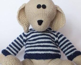 teddy dog June, in stripy jumper
