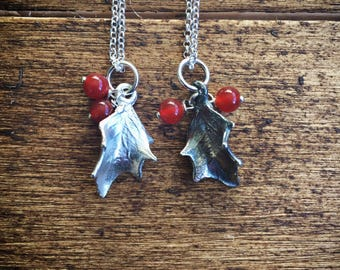 Sterling silver holly leaf necklace with red carnelian berries