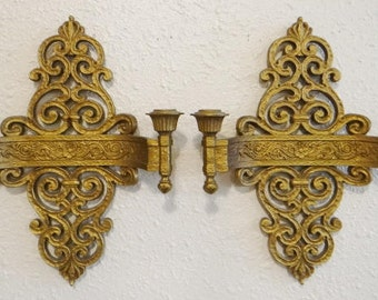 Vintage Pr Dart Syroco Double Candle Sconces Hollywood Regency Ornate Wall Candle Holders Double Arm Baroque