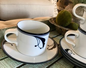 Dansk Flora set of Four Flat Cup and Saucer Set Bayberry Blue 2 3/4 Coffee Cup Tea Cup Blue and White Dish Flower TYCAALAK