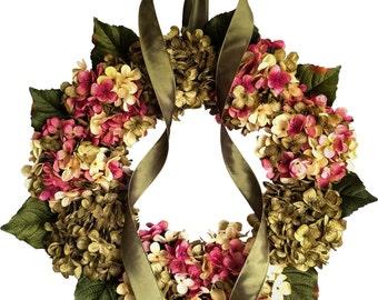 Blended Hydrangea Wreath | Front Door Wreaths | Spring Wreaths | Shabby Chic Decor | Hydrangea Wreath | Housewarming Gift | Outdoor Wreath