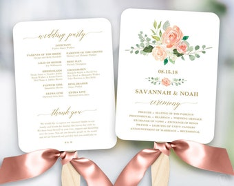 peach blush floral wedding program fan template printable fan wedding programs diy wedding fans editable text peach gold vw27