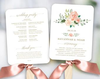Peach Blush Floral Wedding Program Fan Template, Printable Fan Wedding Programs, DIY Wedding Fans, Editable text, Peach Gold, VW27