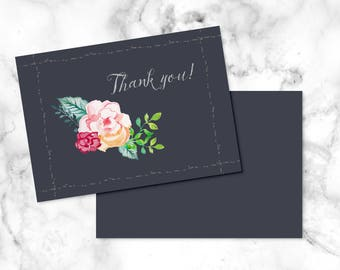 Printable wedding thank you note/ Rustic wedding thank you note/ Rose wedding thank you card/ Floral thank you card for wedding