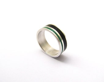Sterling Silver Ring, Wedding  Band, Color, Lines, Unisex, Black and Green Wedding Band