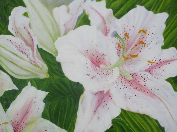 Original White Lilies Oil Painting By UK Artist Alex McArthur