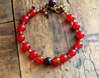 Bracelet Bohemian boho chic ruby agate beads