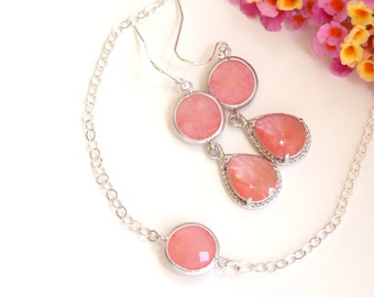Wedding Jewelry, Coral Earrings and Bracelet,Grapefruit,Sterling Silver,Bridesmaid Jewelry, Bridesmaids Sets,Dangle, Brides Gifts, Long
