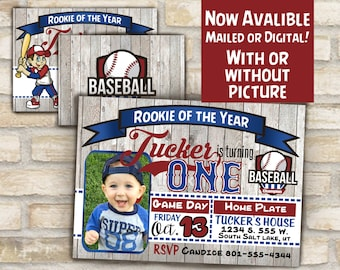 baseball invitation for first birthday party or any age available with / without photo, digital download or mailed prints rookie of the year