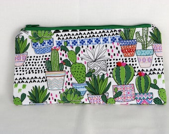 Cactus Pencil Pouch, Cactus Gift, Calculator Pouch, Zipper Pouch, Floral, Cacti