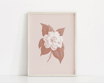 Flower Wall Art, Gardenia Wall Art, Vintage Flower, Blush Pink Decor, Pink Wall Decor, Printable Floral Art