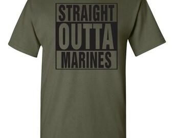 Straight Outta The MARINES United States Marine Corp Men's Tee Shirt 1304