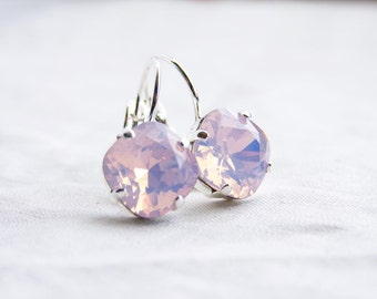 Swarovski Earrings. Cushion Cut Rose Water Opal. Bridesmaid Gift. Simple Modern Jewelry by Smallbluethings