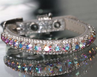 Rockstar TM - Rainbow Aurora and Clear Diamonte Crystal Rhinestones Aura Chakra Dog Cat Pet Jewelry Collar Necklace and Safety Collar