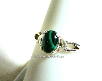 Ring Green Banded Malachite Stone Midi Sterling Silver Jewelry SylCameoJewelsStore
