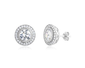 Rhodium plated Sterling Silver  6.5mm round  CZ post earrings.