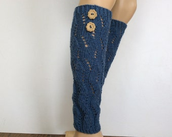 Handmade Leg warmers, Boot women's leg warmers, Wool Blend, leg warmer with two buttons,Knitted LegWarme,Select Color