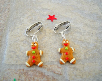 p' Gingy - gingerbread man clip earrings polymer clay fimo children - clip on earrings