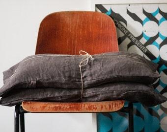 Linen cushion case - Soft charcoal pillow case - Linen pillow case - Natural linen pillow shams - Linen pillow cover - Linen throw pillow