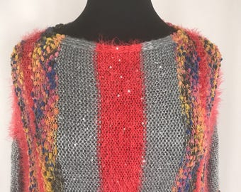 1980s Fuzzy Multi-color Sweater Sz M