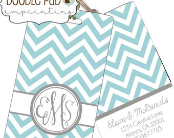 Monogrammed Luggage Tag Blue Chevron